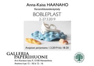 Haanaho Anna-Kaisa Keramiikkataidenäyttely BOBLEPLAST