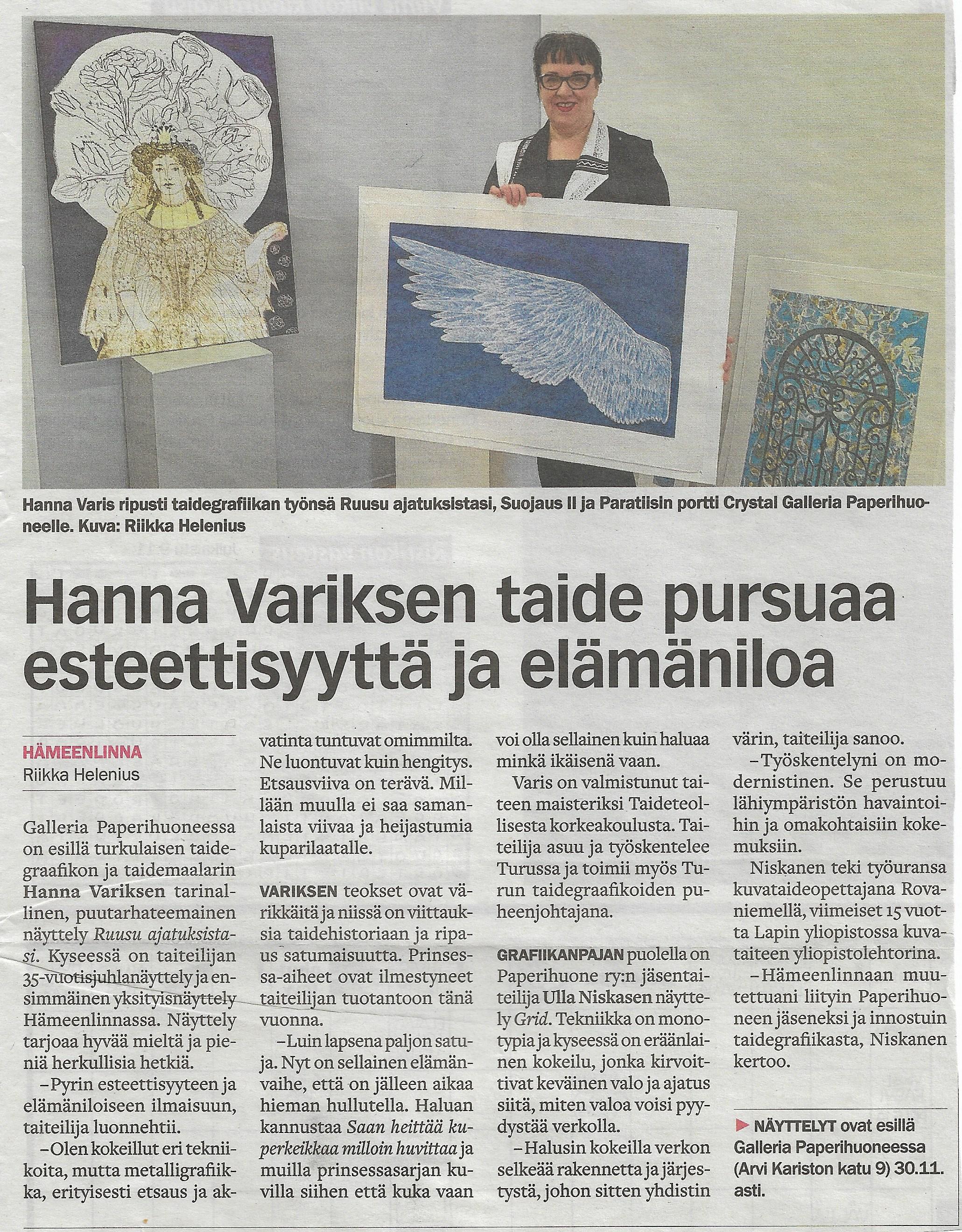Hanna Variksen näyttelystä juttu HML kaupunkiuutisissa